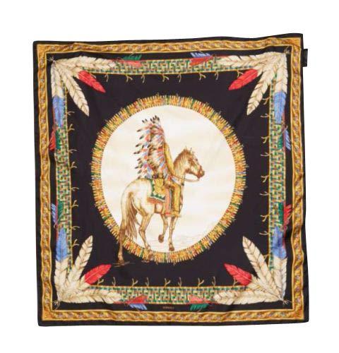 Versace Women's Tribal Chief on Horse Multicolour Silk Scarf Foulard IFO9R01 IT00905 I7910
