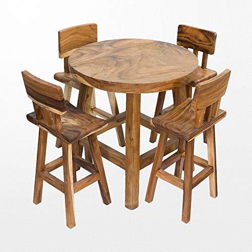 Atypik Home Table Haute en Teck Massif et Ses 4 tabourets en Bois Assortis