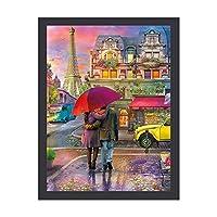 """ロンマンチック パリ 都市 インテリア キャンバス 絵画 家の壁 装飾画 壁飾り 壁ポスター パネル インテリア 装飾 ソファの背景絵画 12"""" x 16"""" 気分転換 癒し 外枠付き"""