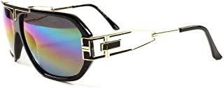 Retro Urban Hip Hop Rapper Swag Rainbow Mirrored Lens Sunglasses