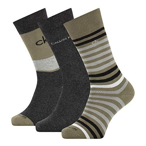Calvin Klein Multi Stripe Men's Crew Socks (3 Pack) Calcetines, verde camuflaje,...