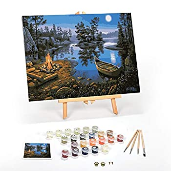 Ledgebay Paint by Numbers for Adults  Beginner to Advanced Number Painting Kit - Fun DIY Adult Arts and Crafts Projects - Kits Include - Moonlight Bay 16  x 20  Framed