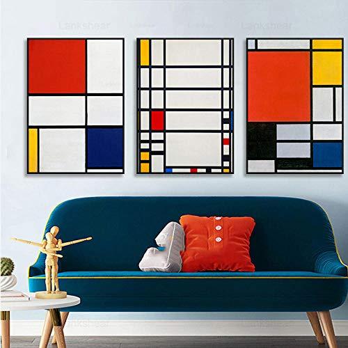 woplmh Mondrian Color Block Estilo Abstracto Impresión en Lienzo Pintura Arte Cuadros de Pared para Sala de Estar Hotel Porche Decoración del hogar / 50x70cmx3Pcs-Sin Marco
