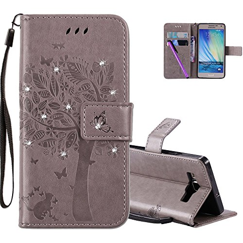 HMTECHUS Samsung Galaxy A5 2015 case 3D Crystal Embossed Love Tree Cat Butterfly PU Flip Stand Card Holders Wallet Handmade Bling Cover Samsung Galaxy A5 2015 Wishing Tree Diamonds Gray KT