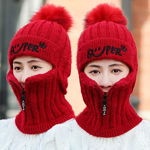 Xme Winter Dicke Strickmütze aus Wolle, Herbst und Winter sowie samt warme Mütze, Radfahren Wind und Kälteschutz Gesicht