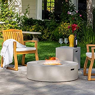 Hearth 50K BTU Outdoor Gas Fire Pit Table with Tank Holder (Circular, Light Grey)