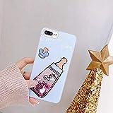 KKAAVV Fashion Bling Liquid Quicksand Hülle für iPhone 6 6s 7 8 Plus X Cartoon Mädchen Flasche Glitter Dynamic Phone Back Cover, Babyflaschen, für iPhone 6 6s