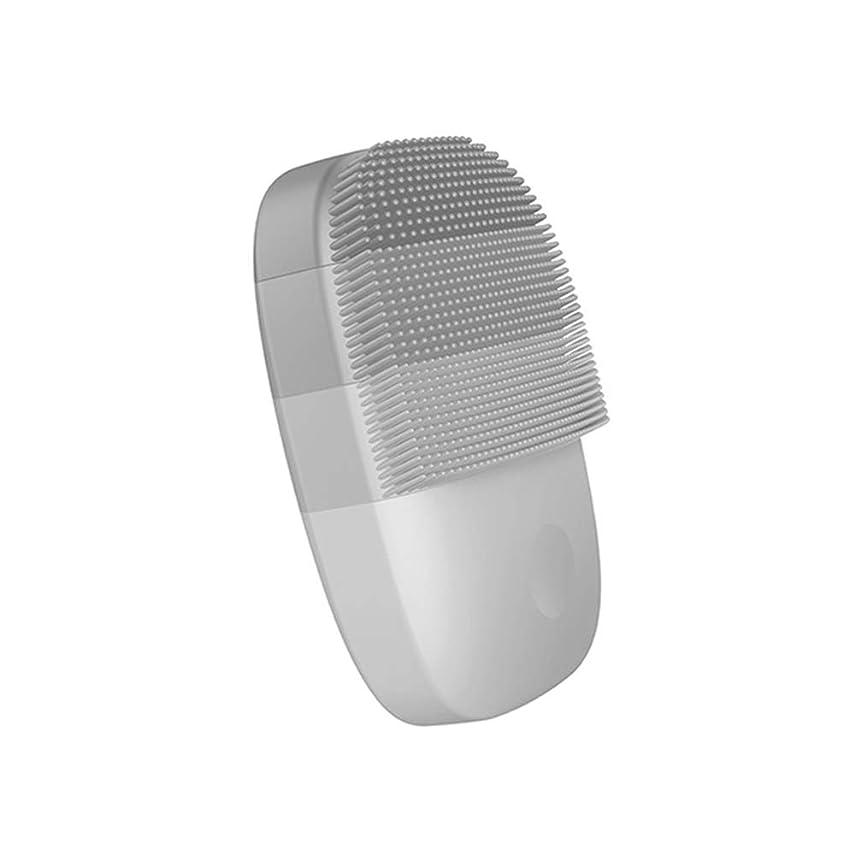 曲言い換えると後ろ、背後、背面(部洗顔ブラシ,電動食品級シリコン IPX7防水音波洗顔 フェイスブラシ,グレー