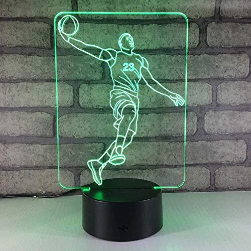 Basket-ball 3D Symphony Night Light avec 7 et 16 M couleur s flash et interrupteur tactile USB alimentation enfant cadeau chambre décoration lampe de table textiles de maison
