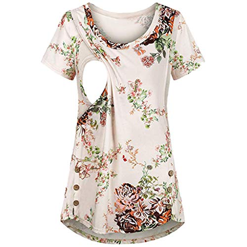 Best Buy! Women Breastfeeding Tunic Tops - Floral Print Side Button Shirt Short Sleeve Maternity Blo...