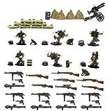 MAGMABRICK Conjunto de Armas, Bunker, Arma Cajas, alambres de púas, Mochilas de la Fuerza Especial Soldado alemán en la Segunda Guerra Mundial para Personalizar Lego minifigura