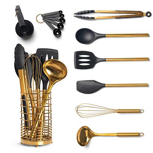 Black & Gold Kitchen Utensils with Metal Gold Utensil Holder -17PC Gold Cooking Utensils Set Includes Black & Gold Measuring Cups and Spoons Set-Gold Kitchen Accessories, Silicone Cooking Utensils Set
