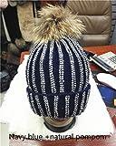 Gorro de Punto de Bola de Felpa cálido de Invierno extraíble para Mujer Gorro Skullies de Hueso de Diamantes de imitación a Rayas Hecho a Mano con Bola de Piel de 15 cm-Navy with Natural