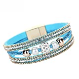 Leder Wickelarmband FüR Frauen,XshuaiRTE Perlen Und Strass ArmbäNder - MäDchen Manschette Bangle Handgemachten Schmuck Women Multilayer Bangle Bracelet Crystal Beaded Leather Magnetic Wristband (BU)