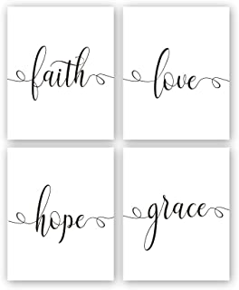 """Kairne Faith Hope Love Grace Bible Verse Art Print,Set of 4 (8X10"""") Inspirational Typography Art Painting,Christian Quote Canvas Poster for Home Office Decor,Unframed"""