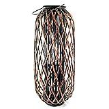 Modernes Windlicht Bodenwindlicht Windlichtsäule aus Rattan und Glas braun Höhe 80 cm Breite 32 cm
