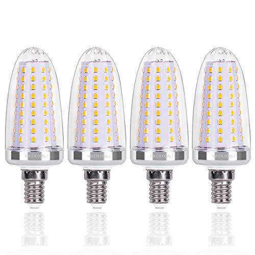 SanGlory Lampadine a Candela E14 LED 14W Equivalenti a 120 W, Lampadine a Candelabro Bianco Caldo 3000K, Lampade LED E14 Non Dimmerabile, 4 Pezzi (E14 Luce Calda)