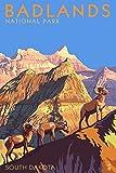Badlands National Park, South Dakota, Bighorn Sheep 45082 (9x12 Art Print, Wall Decor Travel Poster)