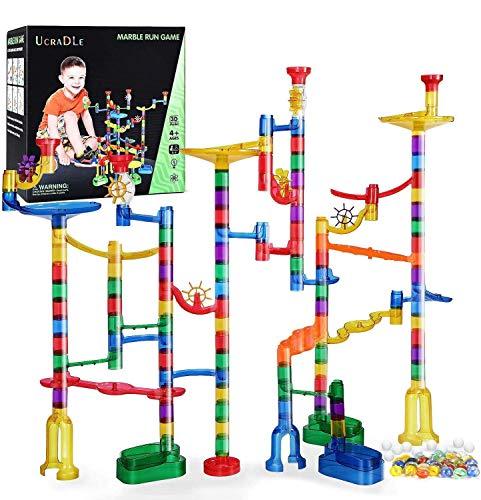 Ucradle Kugelbahn - 165pcs Mehrfarbige Murmelbahn Marble Run Set mit Bahnelementen und Glasmurmeln, Mint Lernspielzeug und Konstruktionspielzeug für Kinder Mädchen Jungen 4+