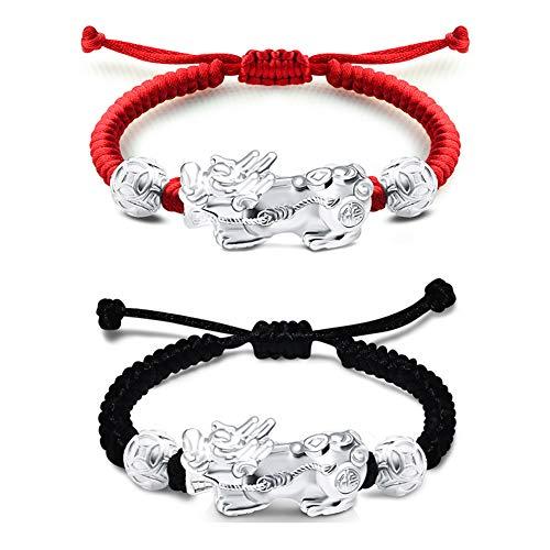 2 Piezas Conjunto De Pulsera Plata De Ley 999 De Feng Shui Pi Xiu Pi Yao, Ajustables De Suerte Riqueza Pulsera para Hombres Mujeres con Caja De Regalo, Negro, Rojo