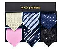 [ACHARI&MANBENI] ネクタイ 洗える 6本セット 洗濯ネット付き ブランド品 おしゃれな組合せ(SET-005)