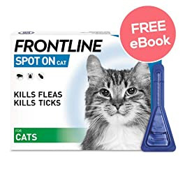 Frontline Spot On For Cats – 3 Pipettes – INCLUDES EXCLUSIVE PETWELL® FLEA AND TICK E BOOK