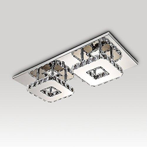Lampe de plafond LED 14W Acier inoxydable Lampe de plafond en cristal LED, Lustre moderne Plafonniers pour salon Chambre à manger Salle à manger