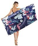 Mikrofaser Strandtuch Flamingo Hawaiian Tropical Partner Familie Groß 152 x 76 cm - XXL Sandabweisendes Schnelltrocknend Strandtücher Leicht, Schwarz Handtuch Strand Erwachsene Beach Towel Damen