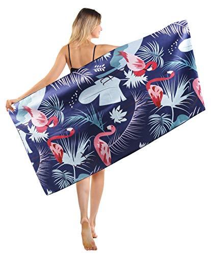 Toallas de Playa Grandes de Antiarena de Microfibra para Hombre Mujer, 186x90cm, Toallas Baño Calidad Gigante Secado Rapido para Piscina, Manta Playa, Toalla Yoga Deporte Gimnasio, Flamingo, Negro