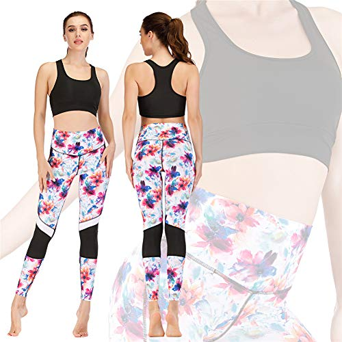 Frauen Fitness Kleidung Laufen Print Anzug Yoga Kleidung Strumpfhose Barbie Hose Sport BH Zweiteiliges Set,Schwarz,M