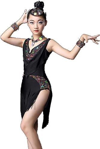 ZYLL VêteHommests de Danse Latine pour Enfants, Enfants Enfants Sequin Fbaguee Scène Compétition Costume de Danse de Salon Filles Latin Salsa Tango Tassel