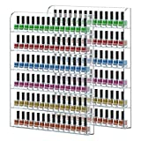 wall acrylic nail polish rack - FEMELI 2 pack Nail Polish Wall Rack Hold Up To 200 Bottles,Clear Acrylic Nail Polish Display Holder Organizer 6 Rows