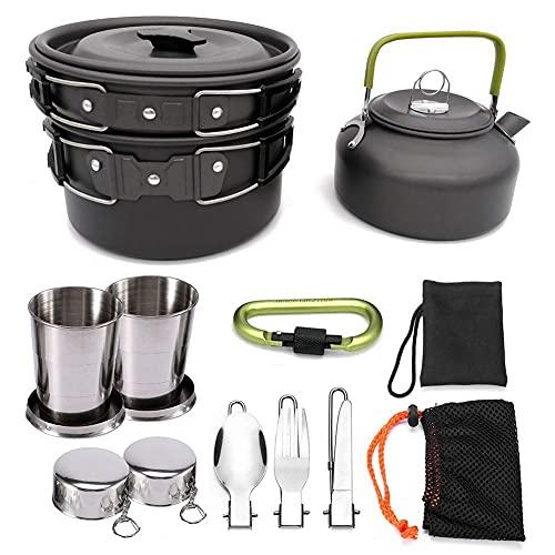 Estufa de leña portátil para acampar con olla Kit de leña portátil Olla de camping Estufa de leña Utensilios de cocina para senderismo al aire libre Picnic (kit de utensilios de cocina para acampar)