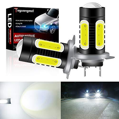 Teguangmei H7 Bombilla de Luz Antiniebla LED Super Brillante Blanca Chip de COB de Alta Potencia de 7,5W Para Luces Antiniebla DRL Luces de Circulación Diurna 12V-24V (paquete de 2)