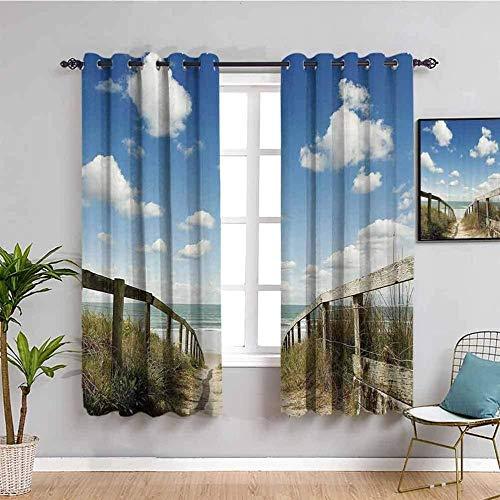 Nileco Cortinas de Opacas - Cielo azul nubes blancas hierba mar paisaje. - 234x138 cm - 3D Impresión Digital con Ojales Aislamiento Térmico - para Sala Cuarto Comedor Salon Cocina Habitación