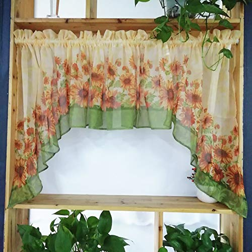 Country Curtain Valance Swag Set of 3 Panels for Kitchen Bathroom American Rural Print Sunflower Cafe Curtains Tulle Door Curtain Rod Pocket Window Treatment Valance Tier