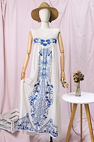 Sukienka Haftowane Maxi Sukienka Bez Ramiączek Letnie Sukienki Elastyczne Wracać Casual Kobiety Sukienki Boho Długie Suknie Plażowe Damska sukienka HSHUIJP (Color : C, Size : Medium)