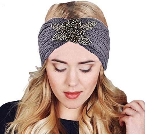 MoreChioce Bandeau Cheveux Tricoté,Femme Hiver Bandeaux Strass Perles Headband Elastique Tricot Hairwear Chaud Headwrap Hair Bande Accessoires,Fleur Gris