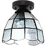 YHSGD Lámpara de Techo Tiffany Pantalla de Vidrio Estilo Simple Country para iluminación de Entrada Pasillo Hall,White,16X12CM