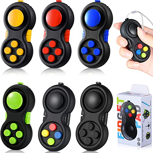 Skylety 6 Pieces Cam Fidget Pad Controller Relieve Fidget Toy Anxiety Teen Handheld Mini Handheld Fidget Cube Pad Fidget Controller Stress Reducer for Teens and Adult Relieve Stress (Mixed Colors)