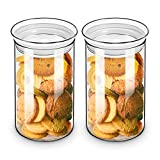 ZENS Glass Canister Jars with Glass Lid, Airtight Kitchen Canisters Set of 2, Clear Sealed 37 Fluid Ounce Cylinder Storage Containers Sets for Cookie,Coffee 1100ML