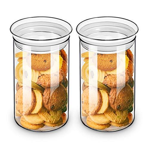 ZENS Vorratsgläser Vorratsglas Set, Borosilikatglas Vorratsdose of 2er mit Luftdichtem Deckel, 1100ml Breiter Mund Vorratsdosen Glas Keksdose für Keks or Süßigkeiten