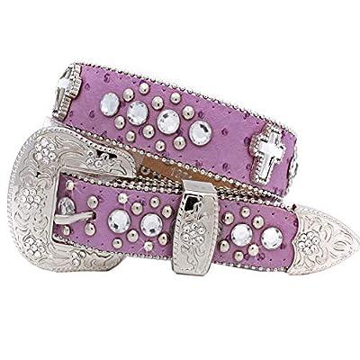 Xs-1371-kids Girls Western Belts Cross Rhinestone Belts (purple)