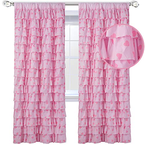 WestWeir Pink Ruffle Curtains - Set of 2 Panels,Heart Pattern for Girl's Room 42 inches x 84 inches