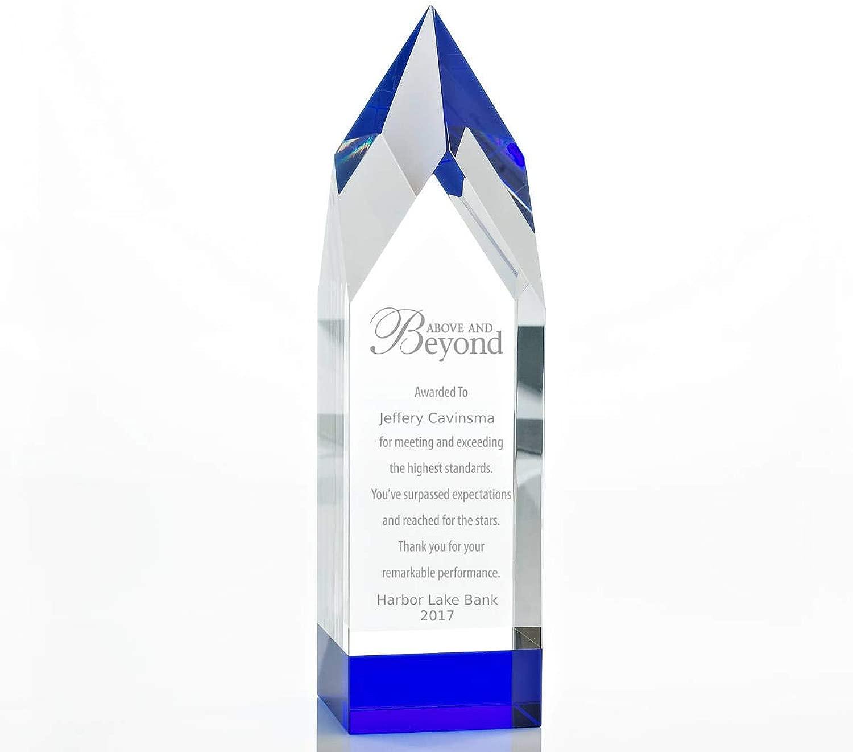 トロフィー - クリスタル - ベースにブルー - 従業員への賞 - 最大3行まで刻印 - 刻印可 - ギフトボックス付き