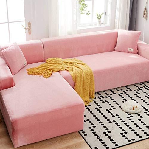 HUANXA Elastischer Sofa Abdeckung für Ecksofa, Samt Sofabezug Anti-Rutsch Sofahusse SofaÜberwürf Für 1 2 3 Sitzer-3 Sitzer190-230cm+4 Sitzer235-300cm-Rosa