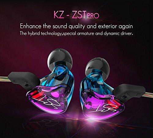 Auriculares KZ ZST ergonómicos intrauditivo In-Ear Earphones Montura...