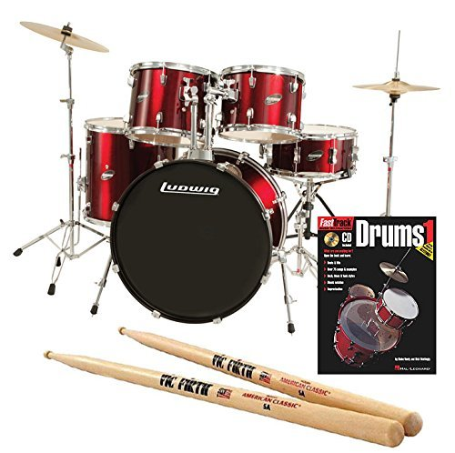 Ludwig Accent Drive Red 5-Piece Drum Set Bundle with Vic Firth American Classic 5A Drum Sticks and FastTrack Drum Method (Book 1)