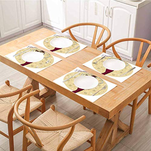 FloraGrantnan Decor - Manteles individuales resistentes al calor, diseño de taurus para mujer, estilo de balance, diseño de señora femenina K, fácil de limpiar Premium para mesa de comedor, juego de 6