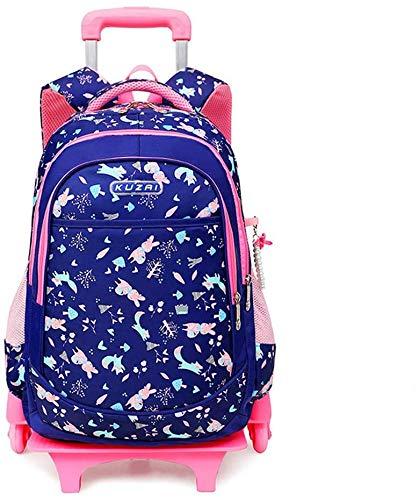 LEYU Zaino Per Bambini Trolley Bag , Borse Per Libri Scolastici Per Ragazze E Ragazzi, Zaino Per Bambini Zaino Con Ruote Con Sei Ruote Glow (Color : Blue)